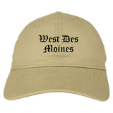 West Des Moines Iowa IA Old English Mens Dad Hat Baseball Cap Tan