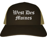 West Des Moines Iowa IA Old English Mens Trucker Hat Cap Brown