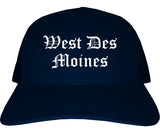 West Des Moines Iowa IA Old English Mens Trucker Hat Cap Navy Blue