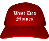 West Des Moines Iowa IA Old English Mens Trucker Hat Cap Red