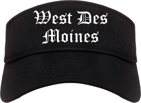 West Des Moines Iowa IA Old English Mens Visor Cap Hat Black
