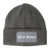 West Haven Connecticut CT Old English Mens Knit Beanie Hat Cap Grey