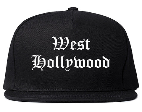 West Hollywood California CA Old English Mens Snapback Hat Black