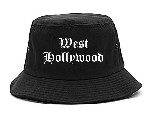 West Hollywood California CA Old English Mens Bucket Hat Black