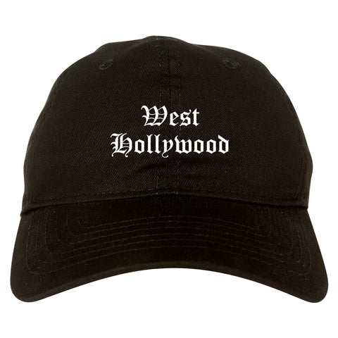 West Hollywood California CA Old English Mens Dad Hat Baseball Cap Black