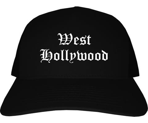 West Hollywood California CA Old English Mens Trucker Hat Cap Black