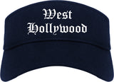 West Hollywood California CA Old English Mens Visor Cap Hat Navy Blue
