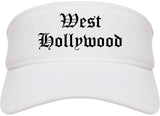 West Hollywood California CA Old English Mens Visor Cap Hat White