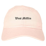 West Mifflin Pennsylvania PA Old English Mens Dad Hat Baseball Cap Pink