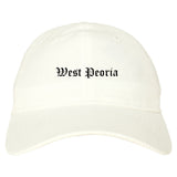 West Peoria Illinois IL Old English Mens Dad Hat Baseball Cap White