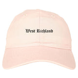 West Richland Washington WA Old English Mens Dad Hat Baseball Cap Pink