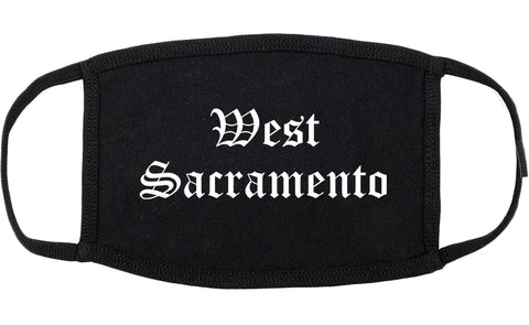 West Sacramento California CA Old English Cotton Face Mask Black