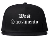 West Sacramento California CA Old English Mens Snapback Hat Black