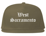 West Sacramento California CA Old English Mens Snapback Hat Grey