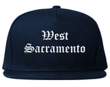 West Sacramento California CA Old English Mens Snapback Hat Navy Blue