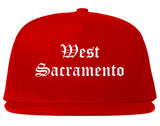 West Sacramento California CA Old English Mens Snapback Hat Red