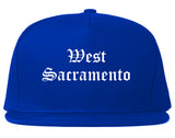 West Sacramento California CA Old English Mens Snapback Hat Royal Blue