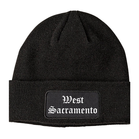 West Sacramento California CA Old English Mens Knit Beanie Hat Cap Black