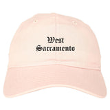 West Sacramento California CA Old English Mens Dad Hat Baseball Cap Pink