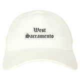 West Sacramento California CA Old English Mens Dad Hat Baseball Cap White