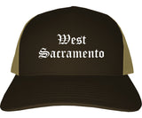 West Sacramento California CA Old English Mens Trucker Hat Cap Brown