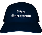 West Sacramento California CA Old English Mens Trucker Hat Cap Navy Blue