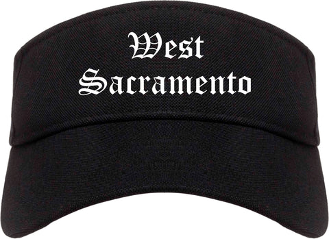 West Sacramento California CA Old English Mens Visor Cap Hat Black