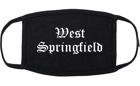 West Springfield Massachusetts MA Old English Cotton Face Mask Black