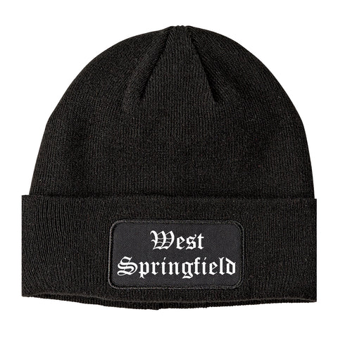 West Springfield Massachusetts MA Old English Mens Knit Beanie Hat Cap Black