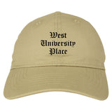 West University Place Texas TX Old English Mens Dad Hat Baseball Cap Tan