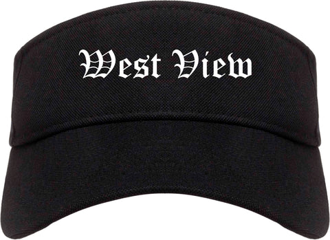 West View Pennsylvania PA Old English Mens Visor Cap Hat Black