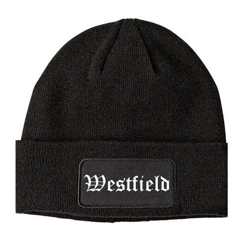 Westfield Massachusetts MA Old English Mens Knit Beanie Hat Cap Black