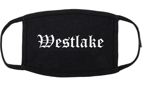 Westlake Louisiana LA Old English Cotton Face Mask Black