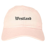 Westland Michigan MI Old English Mens Dad Hat Baseball Cap Pink