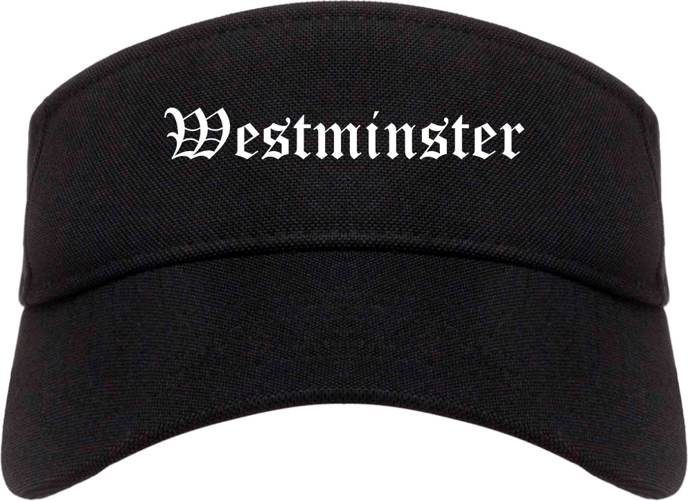 Westminster California CA Old English Mens Visor Cap Hat Black