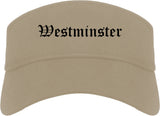 Westminster California CA Old English Mens Visor Cap Hat Khaki