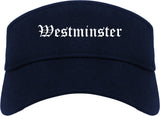 Westminster California CA Old English Mens Visor Cap Hat Navy Blue