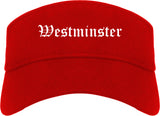 Westminster California CA Old English Mens Visor Cap Hat Red