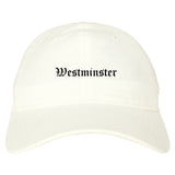 Westminster Maryland MD Old English Mens Dad Hat Baseball Cap White