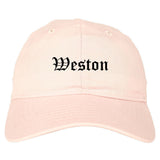 Weston Florida FL Old English Mens Dad Hat Baseball Cap Pink