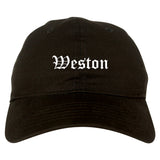 Weston Wisconsin WI Old English Mens Dad Hat Baseball Cap Black