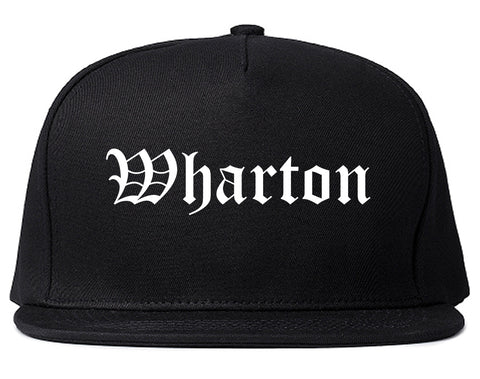 Wharton New Jersey NJ Old English Mens Snapback Hat Black