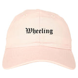 Wheeling Illinois IL Old English Mens Dad Hat Baseball Cap Pink