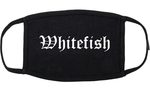 Whitefish Montana MT Old English Cotton Face Mask Black