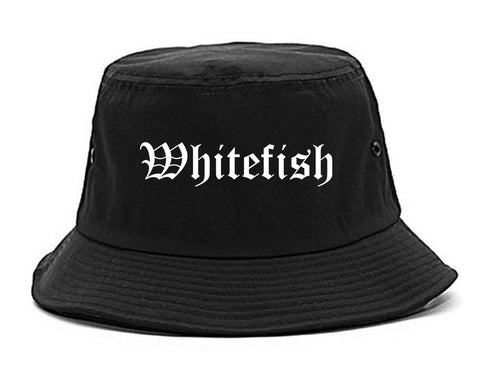 Whitefish Montana MT Old English Mens Bucket Hat Black