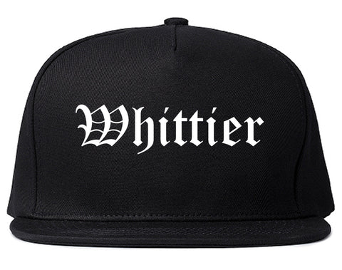 Whittier California CA Old English Mens Snapback Hat Black