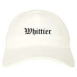Whittier California CA Old English Mens Dad Hat Baseball Cap White