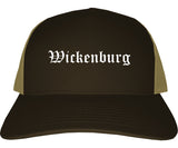 Wickenburg Arizona AZ Old English Mens Trucker Hat Cap Brown