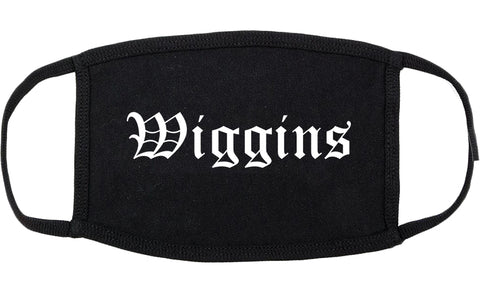 Wiggins Mississippi MS Old English Cotton Face Mask Black