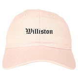 Williston North Dakota ND Old English Mens Dad Hat Baseball Cap Pink